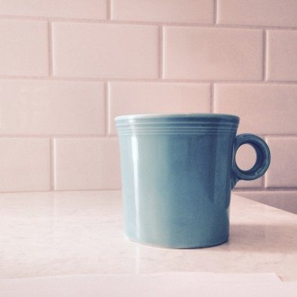 I was really set on a pool blue for pocket door at Bennett kitchen but then I saw my coffee cup sitting on the counter